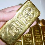 A typical gold Kilo Bar, or 31.15 troy ounces, or $52,116 US dollars.  Nice, eh?