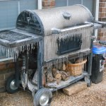 icy covered BBQ grill