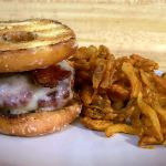 "Everything goes better with bacon!  A ""Luther Burger"":  beef, beef bacon, swiss cheese and a grilled Krispy Kreme doughnut"