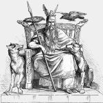 "The Norse god Odin enthroned, flanked by his two wolfs, Geri and Freki, and his two ravens, Huginn and Muninn, and holding his spear Gungnir (Any God with a pet name for a bitchin' spear is jus daring to call him a ""myth"".... g'head)"
