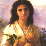 """Girl Holding Lemons"" - William-Adolphe Bouguereau, 1899  (the literal-minded William-Adolphe adopted a quite straightforward approach to painting titles)"
